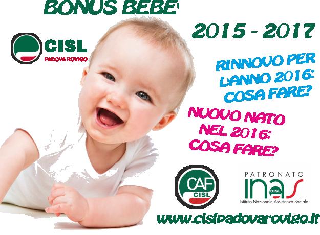 Bonus beb 2015 2017 cosa fare per l anno 2016 cisl for Isee 2017 cosa serve