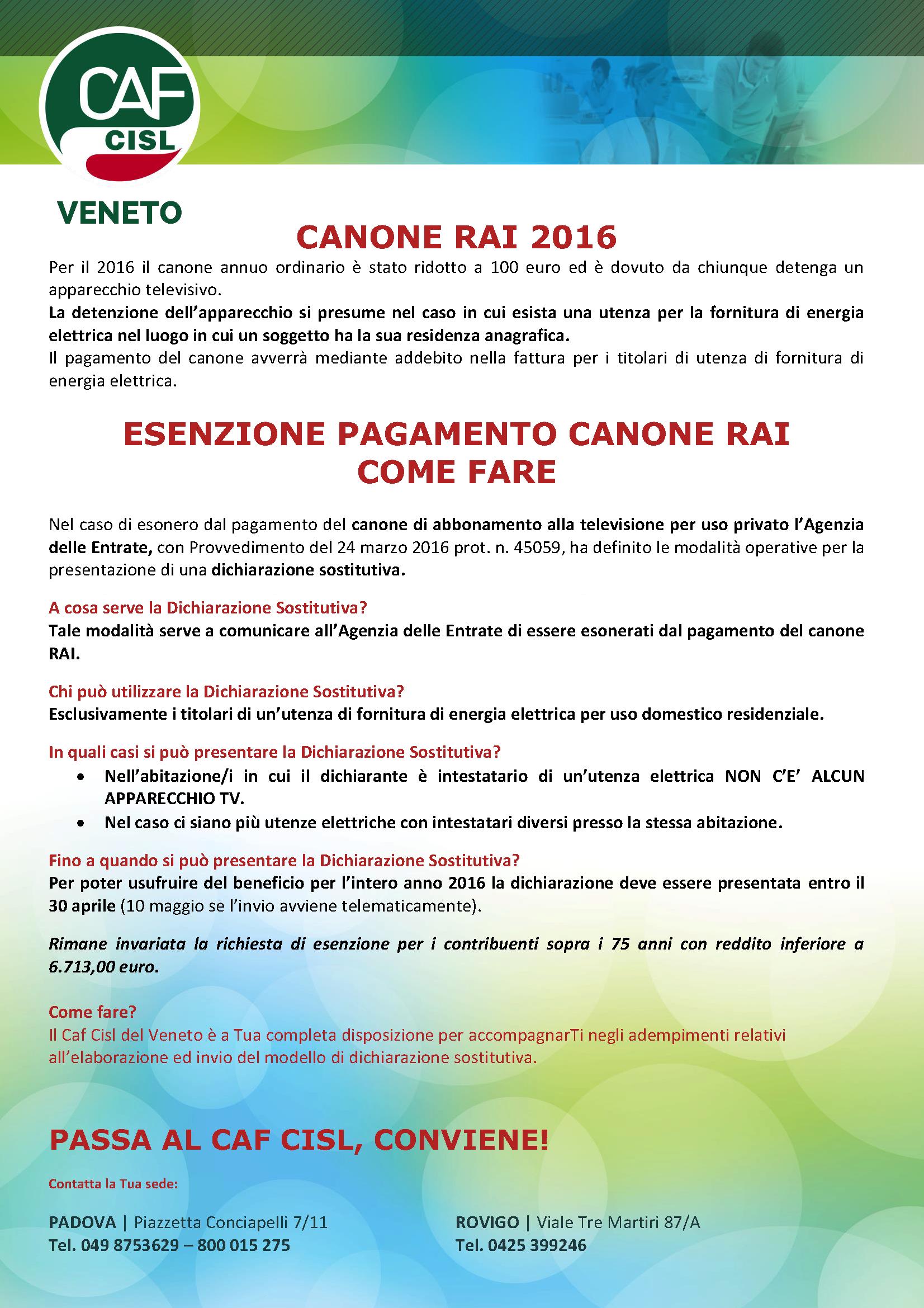 Esenzione Canone Rai 2016