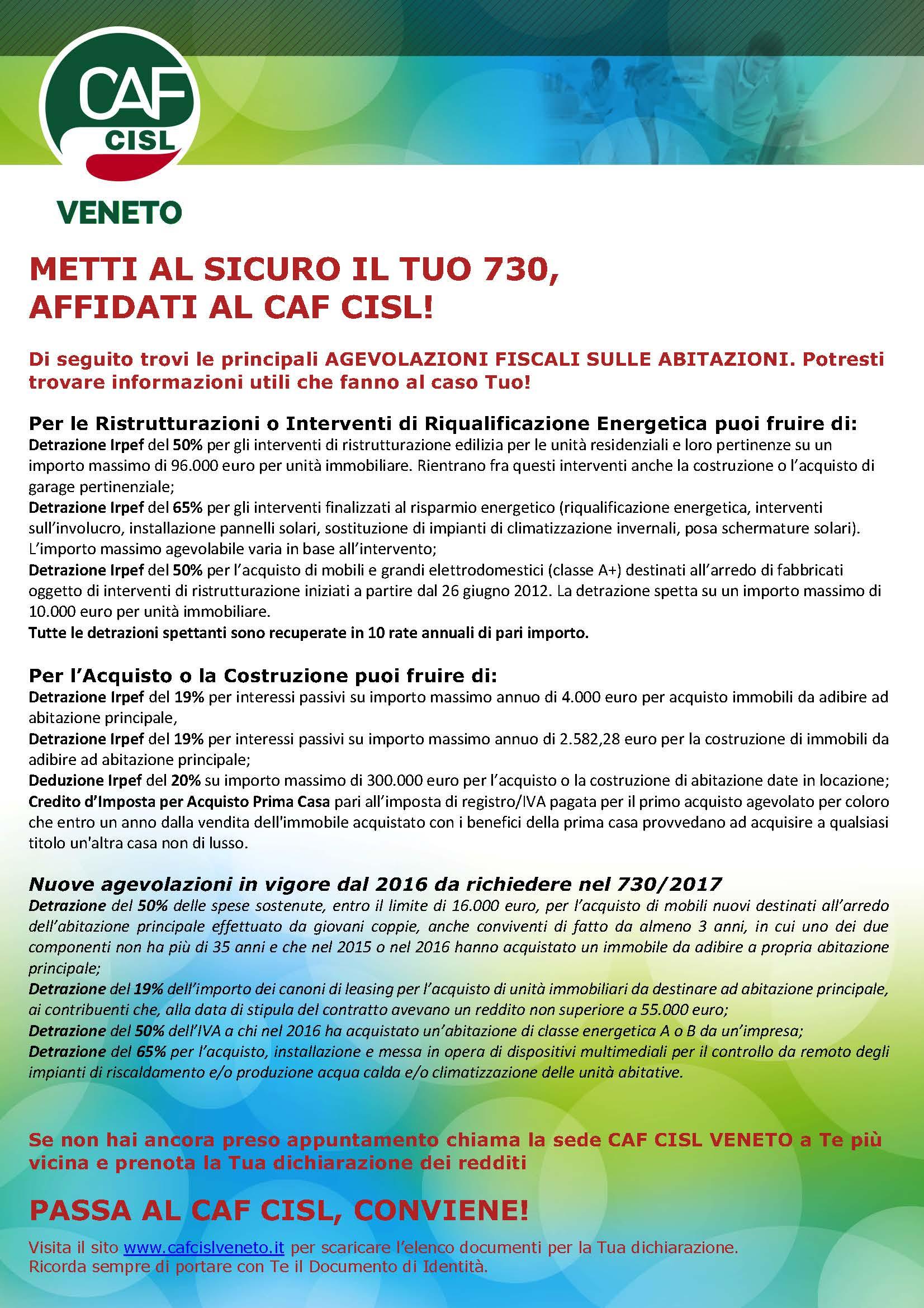 Principali novit 730 2017 cisl padova rovigo for Novita 730 2017