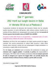 COMUNICATO SCIOPERO 18 MAGGIO 2018 UNITARIO